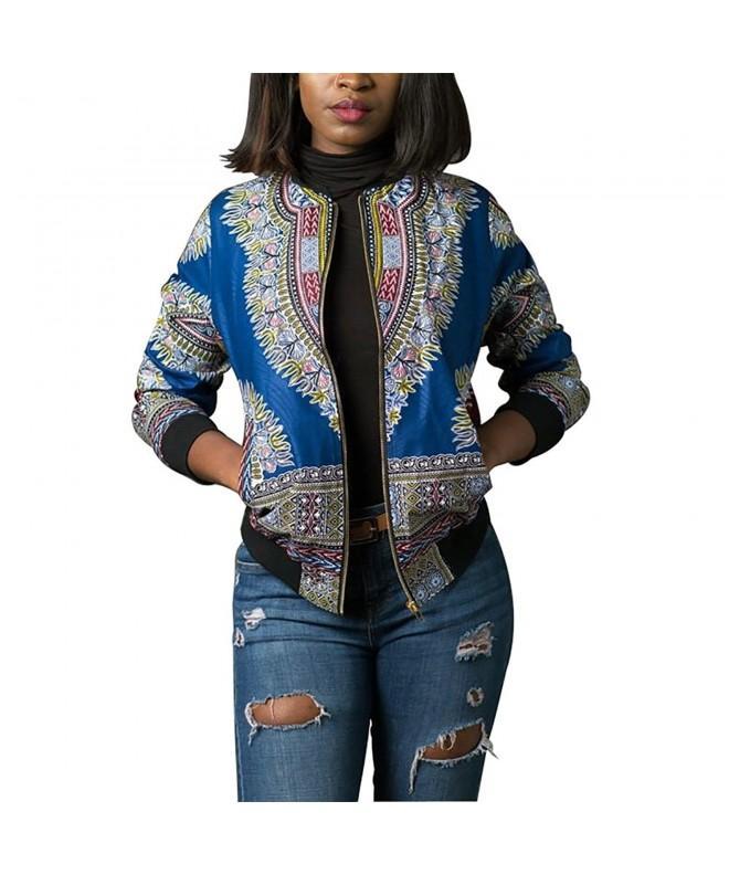 Womens Casual African Zipper Dashiki Pockets