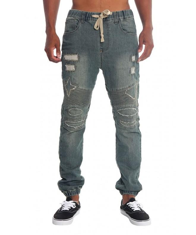 Victorious Distressed Biker Denim Jogger