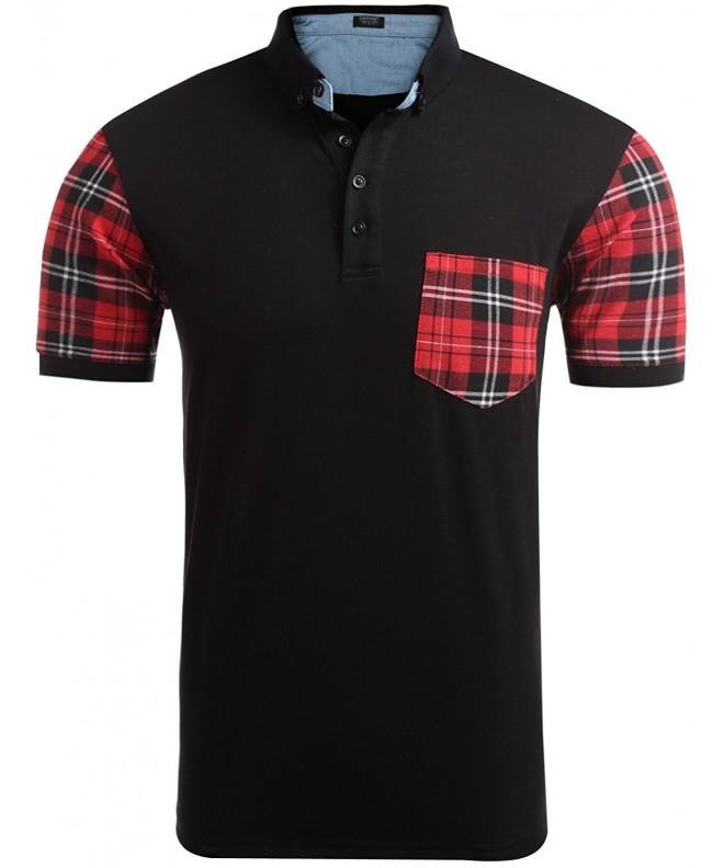 COOFANDY Casual Short Sleeve Plaid