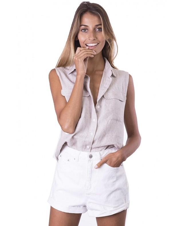 CAMIXA Sleeveless Button Down Pockets Natural
