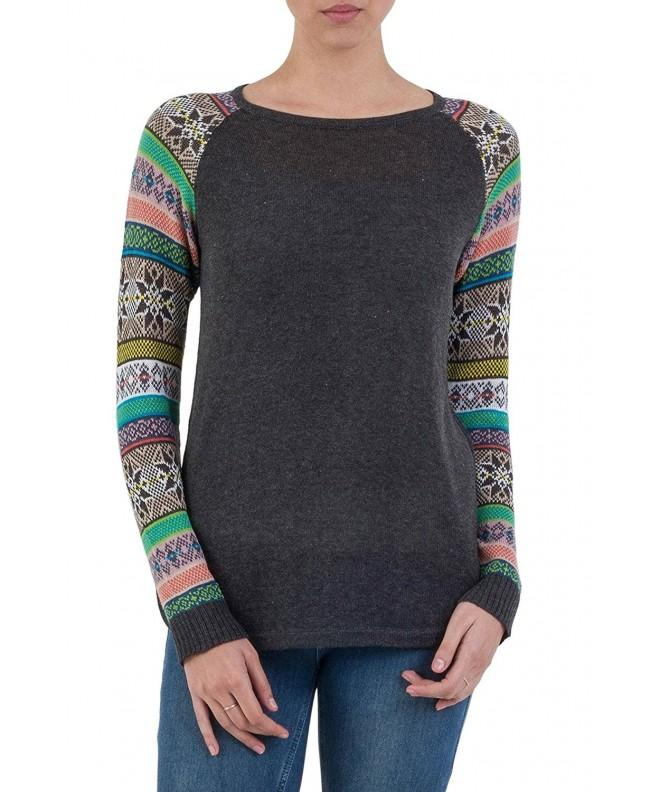 NOVICA Sleeve Cotton Sweater Charcoal