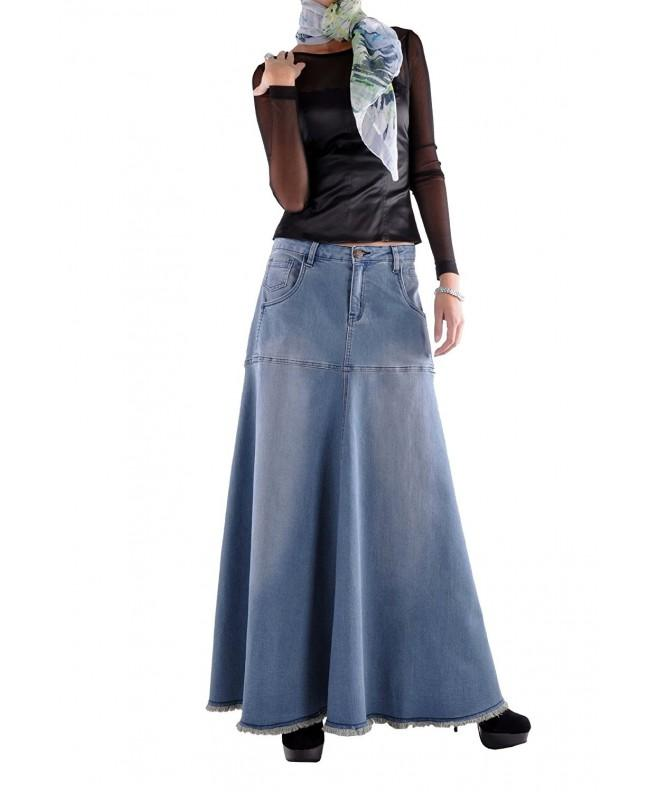 Style Flowing Love Long Skirt Blue 32