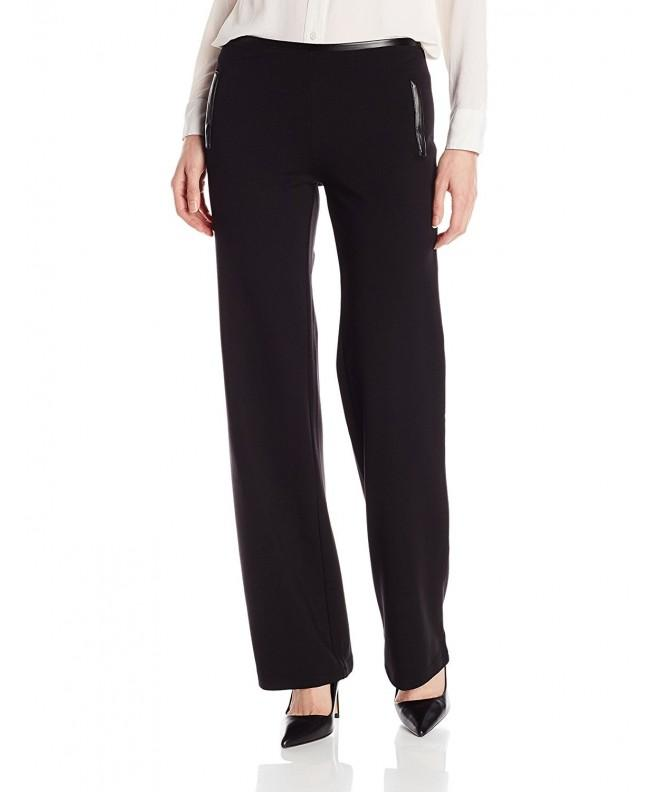 HUE Womens Leatherette Ponte Black