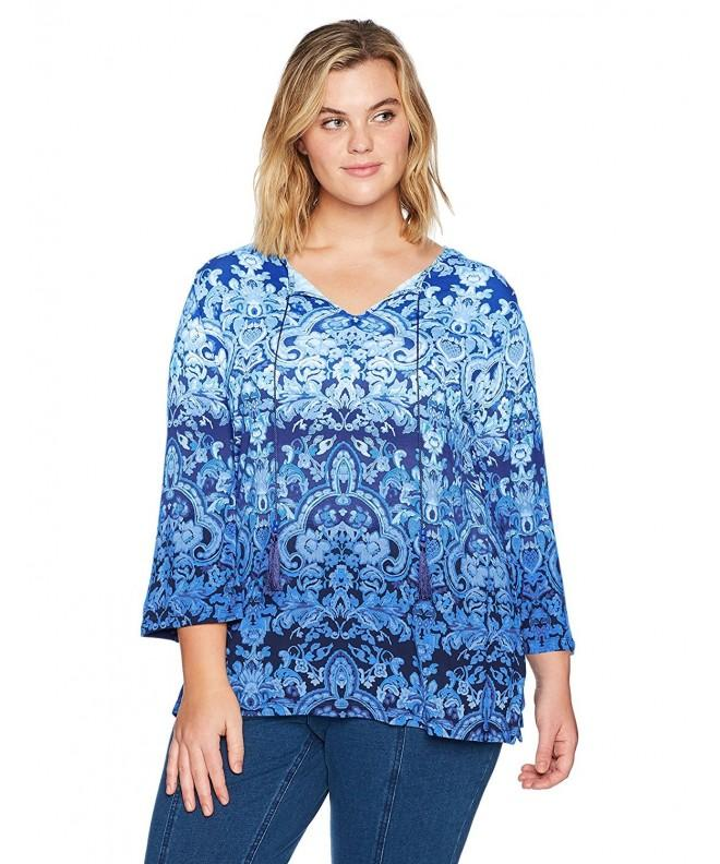 Ruby Rd Printed Tassels Chambray