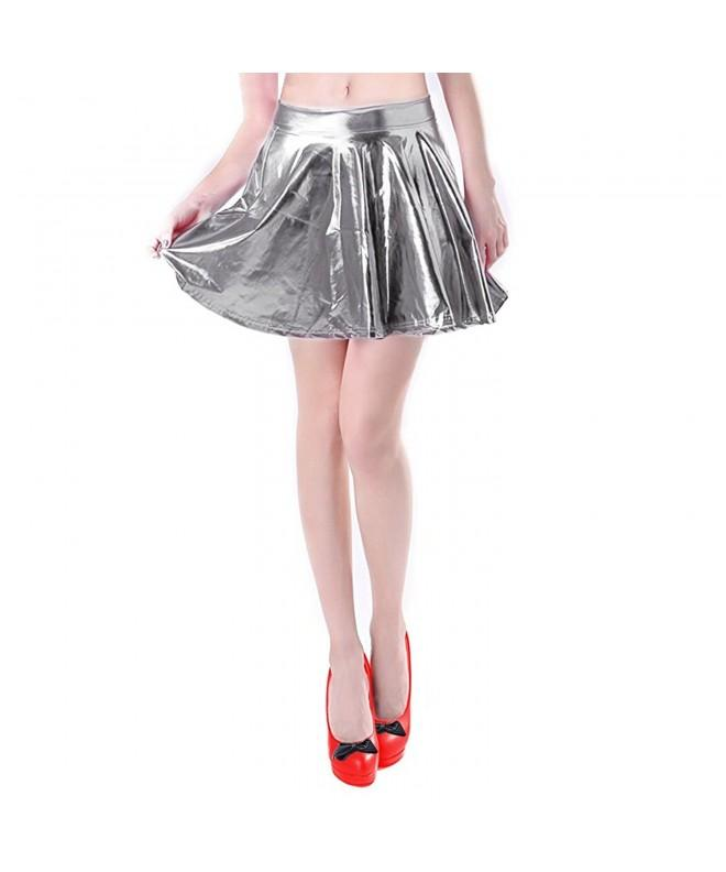 Womens Pleated Liquid Metallic Silverm