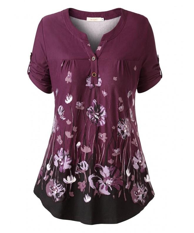 WAJAT Womens Pleated T Shirt PurpleL