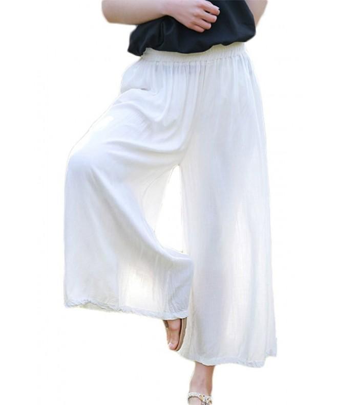 Soojun Womens Linen Elastic Culottes