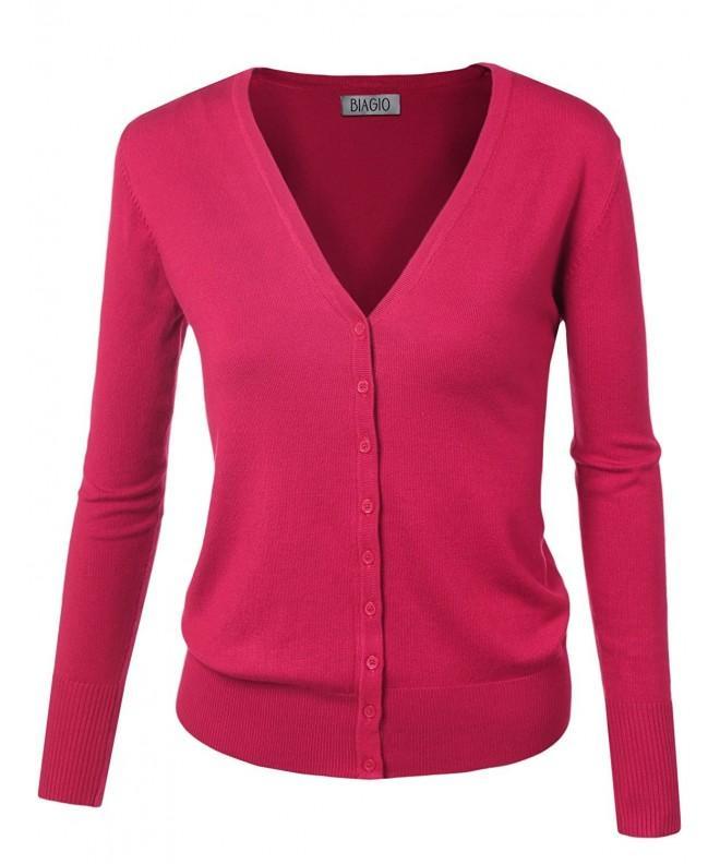 BIADANI Button Cardigan Sweater Magenta