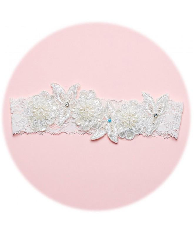 Slocyclub Ivory Embroidery Wedding Garter