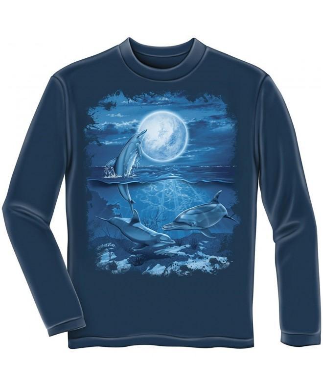 Dolphins Moon Adult Longsleeve Shirt