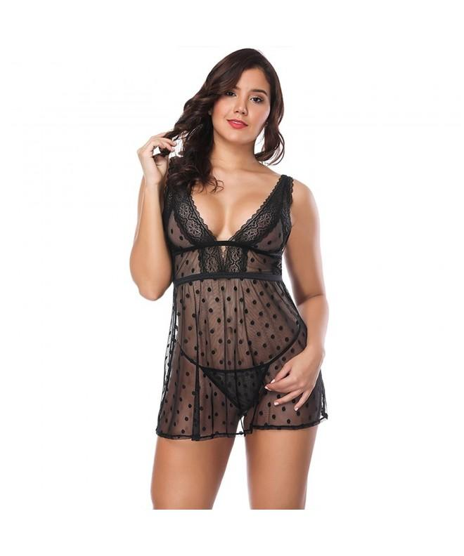 FeelinGirl Women Babydoll Chemise Black