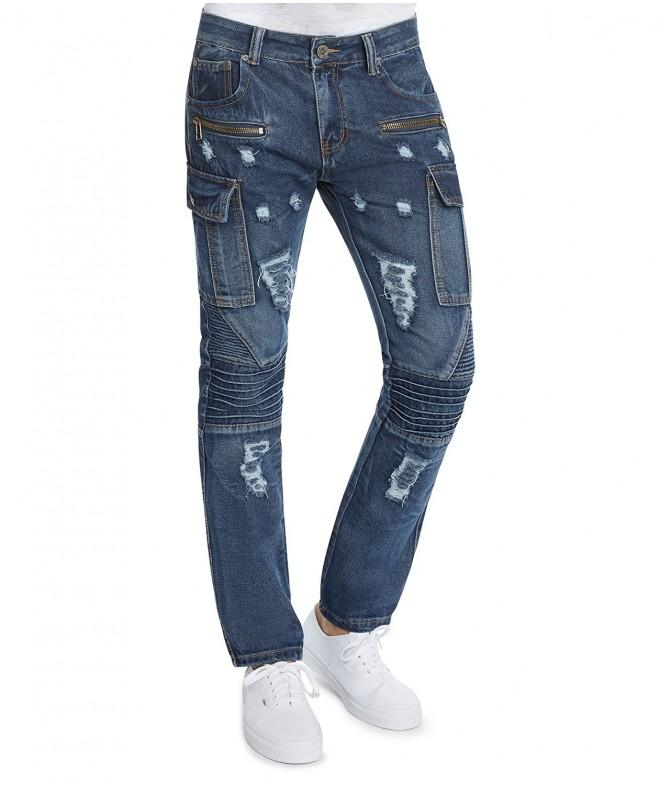 Distressed Zipper Cargo Jeans Trillnation 34