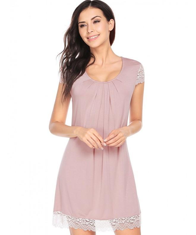 Ekouaer Nightshirt Short Sleeves Viscose Nightgown