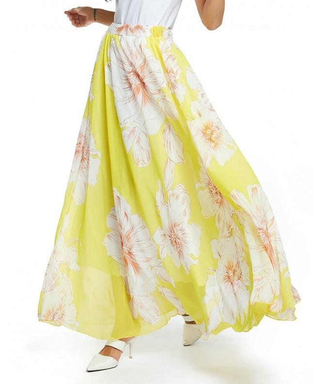 Womens Floral Pleated Chiffon Blossoming