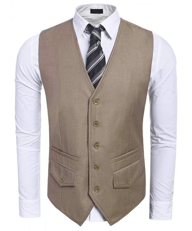 CNlinkco V Neck Button Pocket Waistcoat