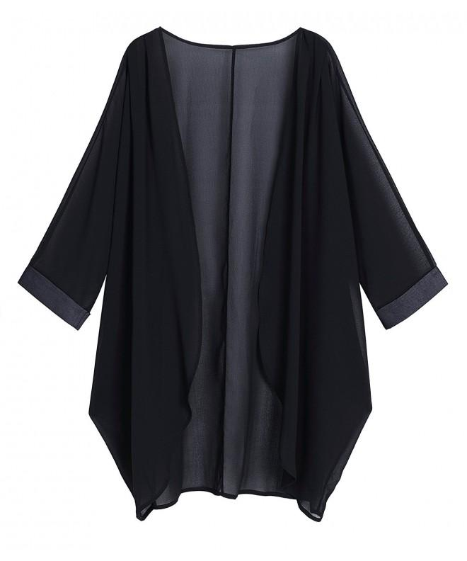 OLRAIN Chiffon Cardigan X Large Black 1