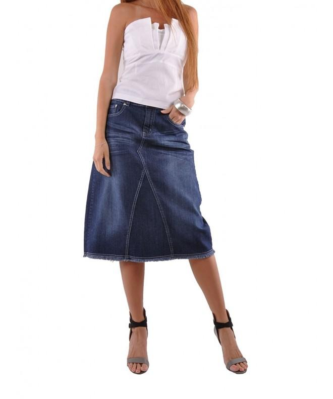 Style Country Chic Denim Skirt Blue 30