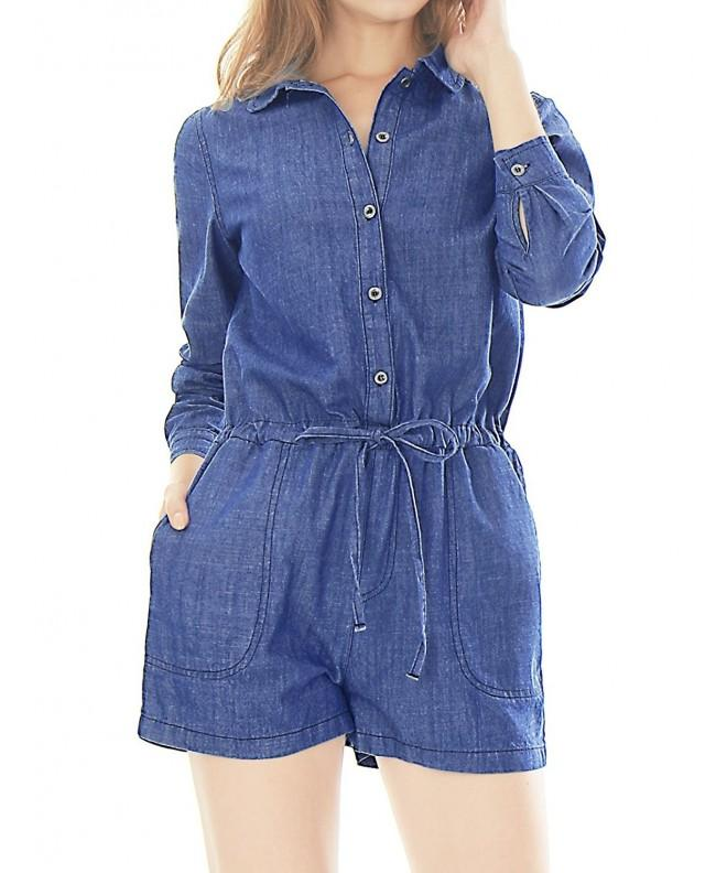 Allegra Womens Drawstring Buttoned Chambray