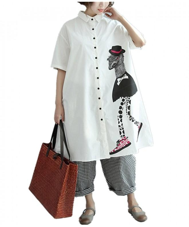QP9 Button Down Gatnred Cartoon Printed