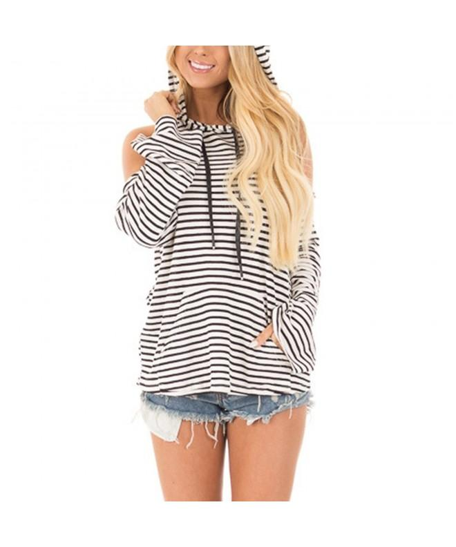 Fashion Shoulder Sweatshirts Striped Pullover