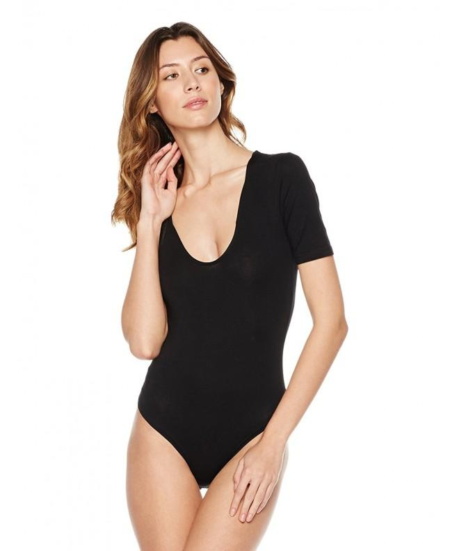 Plumberry Womens Scoop Fitted Sleeve Bodysuit