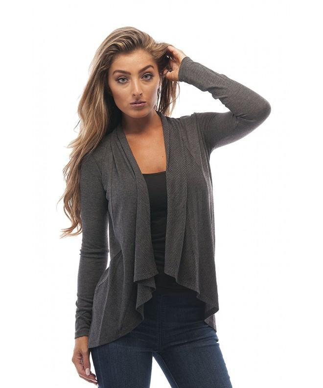 Sleeve Cascade Cardigan Sweater Charcoal