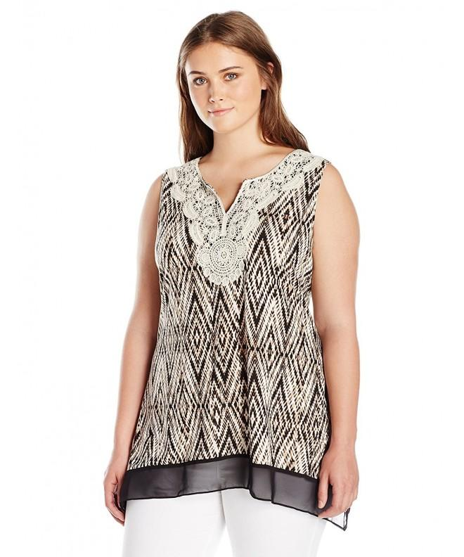 Notations Plus Size Sleeveless Printed Crochet