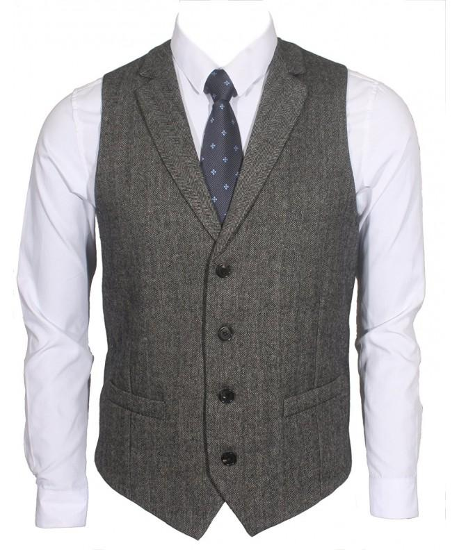 Ruth Boaz 2Pockets 4Buttons Wool Herringbone Tailored Collar Suit Vest Herringbone Black