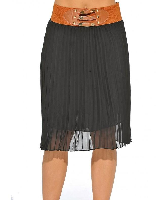 1741 BLACK L Just Love Skirts Pleated