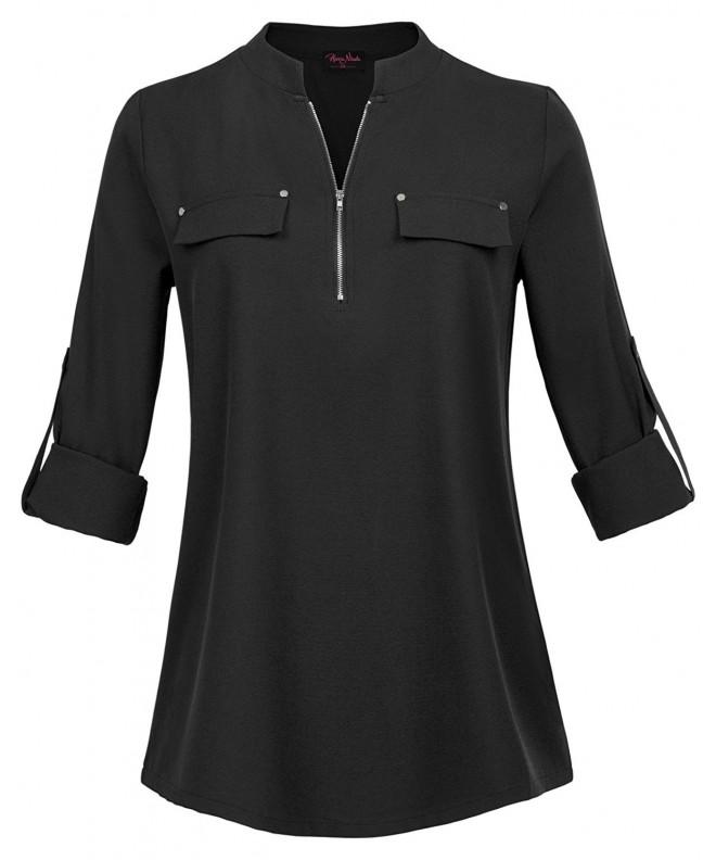Womens Notch Sleeve Henley Tunic