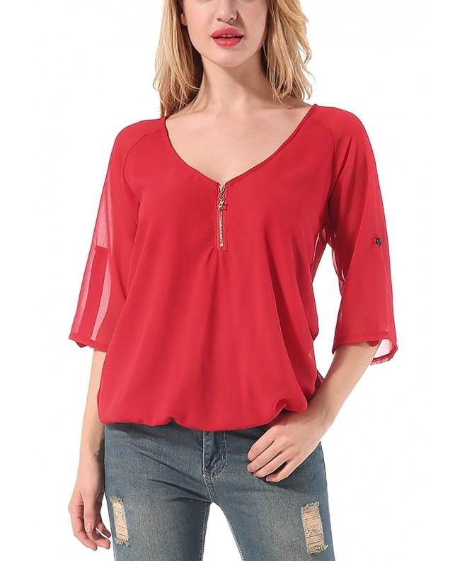 Blouses Sleeve Casual Shirts Chiffon