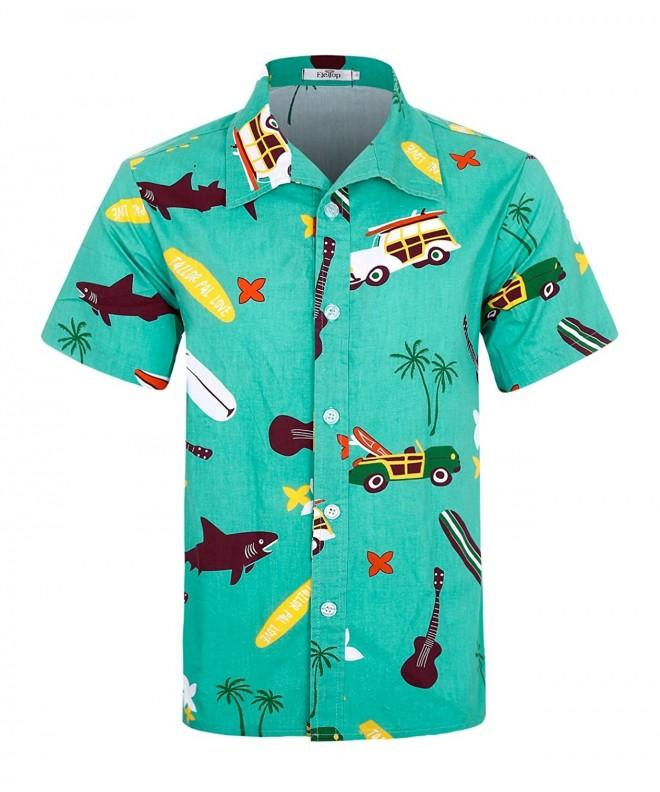 ELETOP Hawaiian Sleeve Cartoon Blue Green