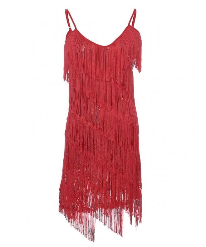 Anna Womens Fringe Backless Flapper