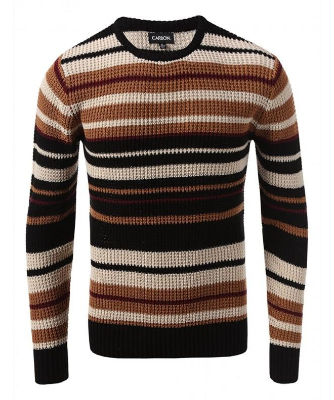 Carbon Stripe Cable Sweater Camel
