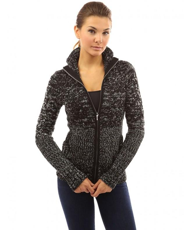 PattyBoutik Womens Marled Cardigan Black
