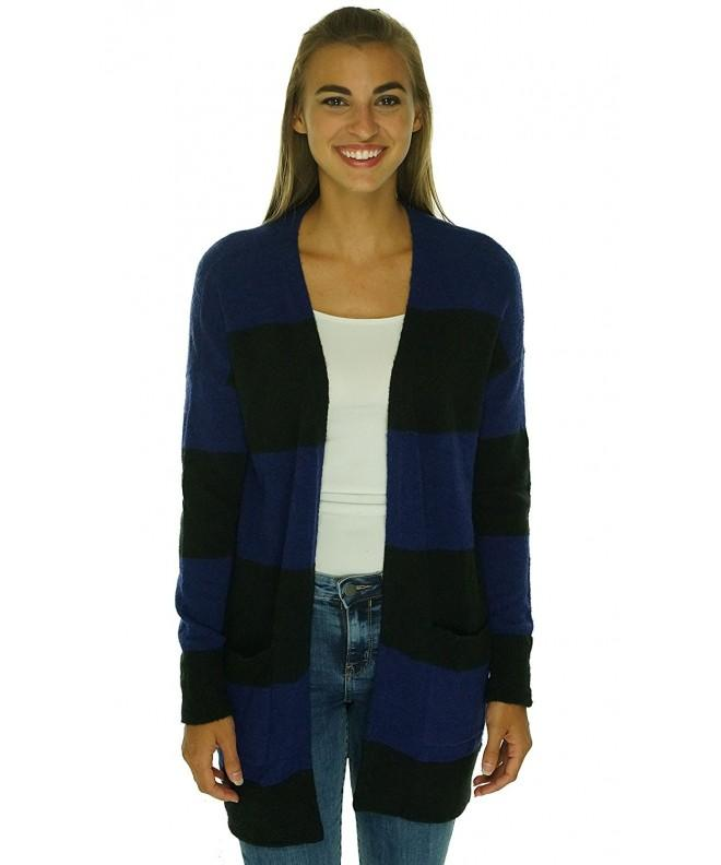 Maison Womens Striped Cardigan Sweater