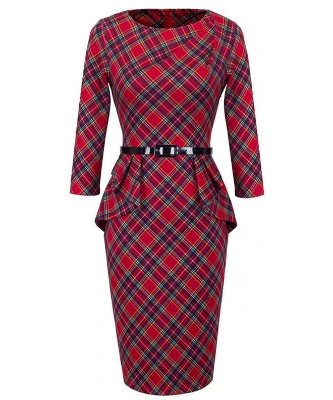 HOMEYEE Womens Vintage Tartan Bodycon