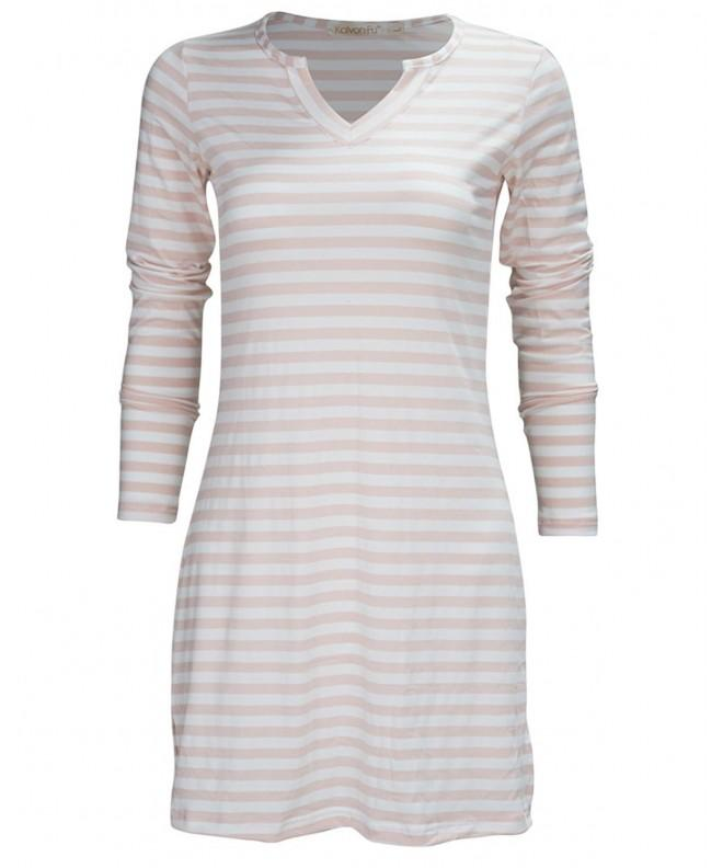 KalvonFu Womens Striped V Neck Nightshirt