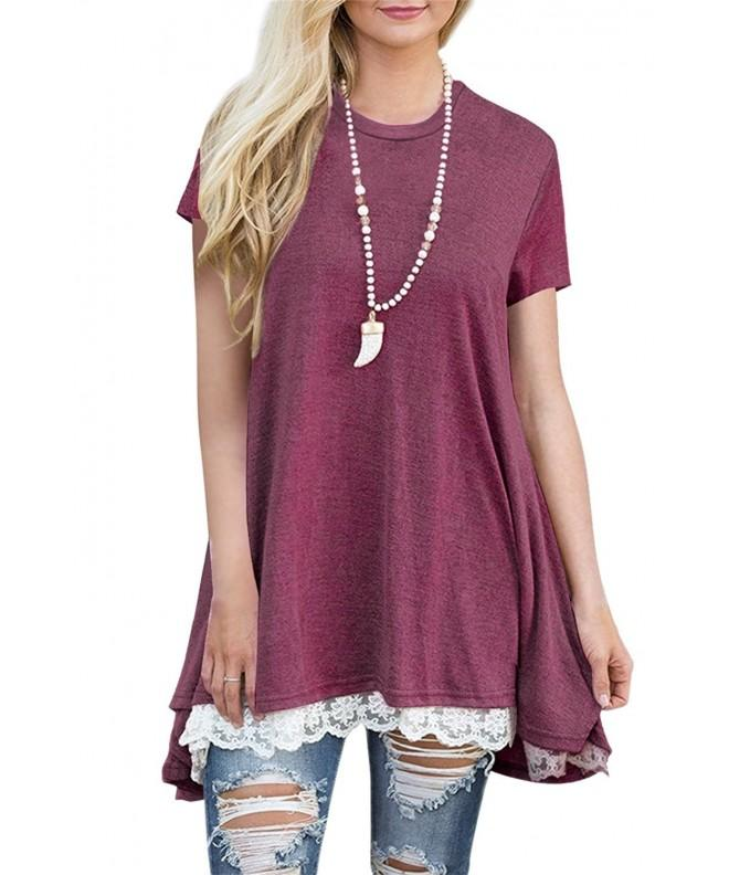 Womens Short Sleeve Flowy Tunic