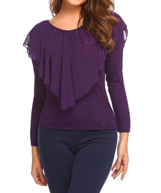Easther Womens Sleeves T Shirt Purple
