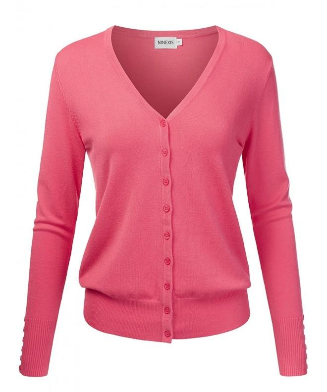 NINEXIS Womens V Neck Cardigan Sweater