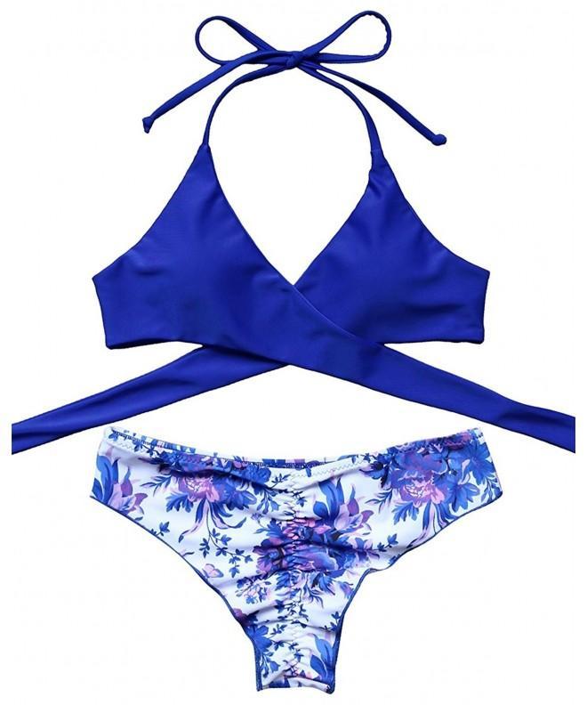 MOSHENGQI Halter Bikini Floral Swimsuits