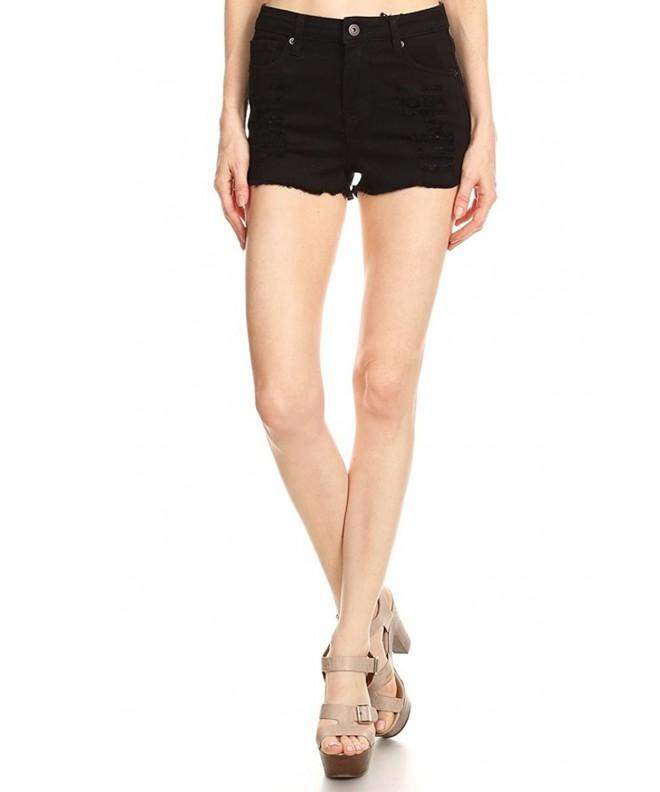 Vialumi Womens Distressed Frayed Shorts