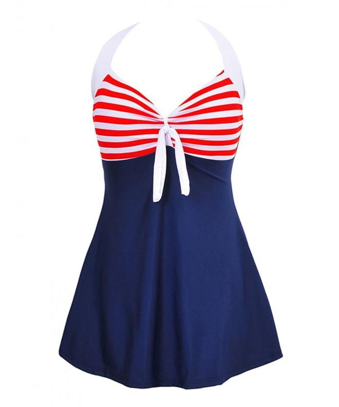 JOYMODE Vintage Monokinis Swimsuit Blue White