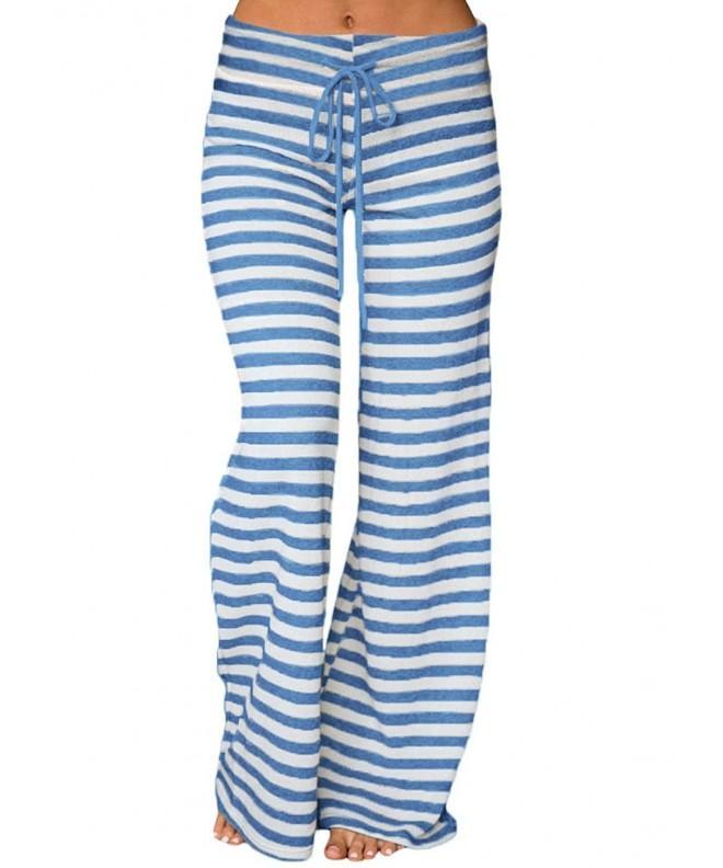 LOSRLY Striped Drawstring Palazzo Pants Blue