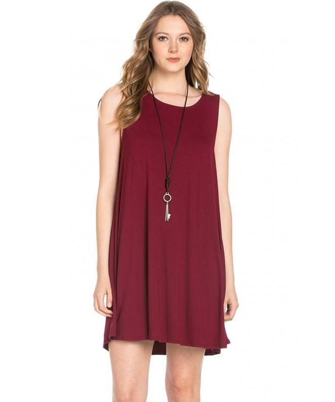 Womens Sleeveless Comfy Dresses Burgundy