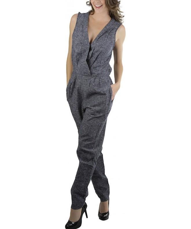 ToBeInStyle Womens Linen Blend Sleeveless Jumpsuit
