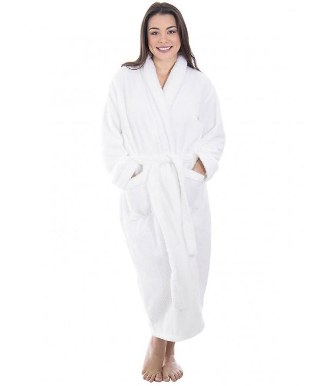 Womens Plush Velvet Bathrobe WHTWHT