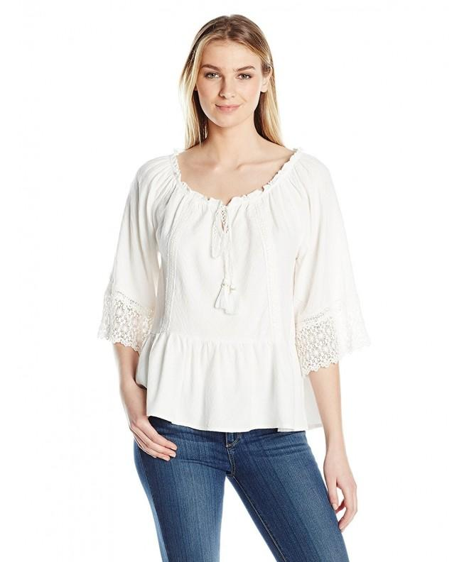 Democracy Womens Shoulder Flounce White
