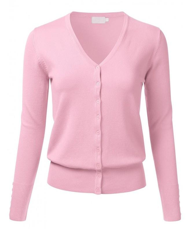 FLORIA Button Cardigan Sweater BabyPink